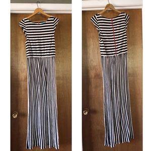 Alice + Olivia Black and White Stripe Maxi Dress